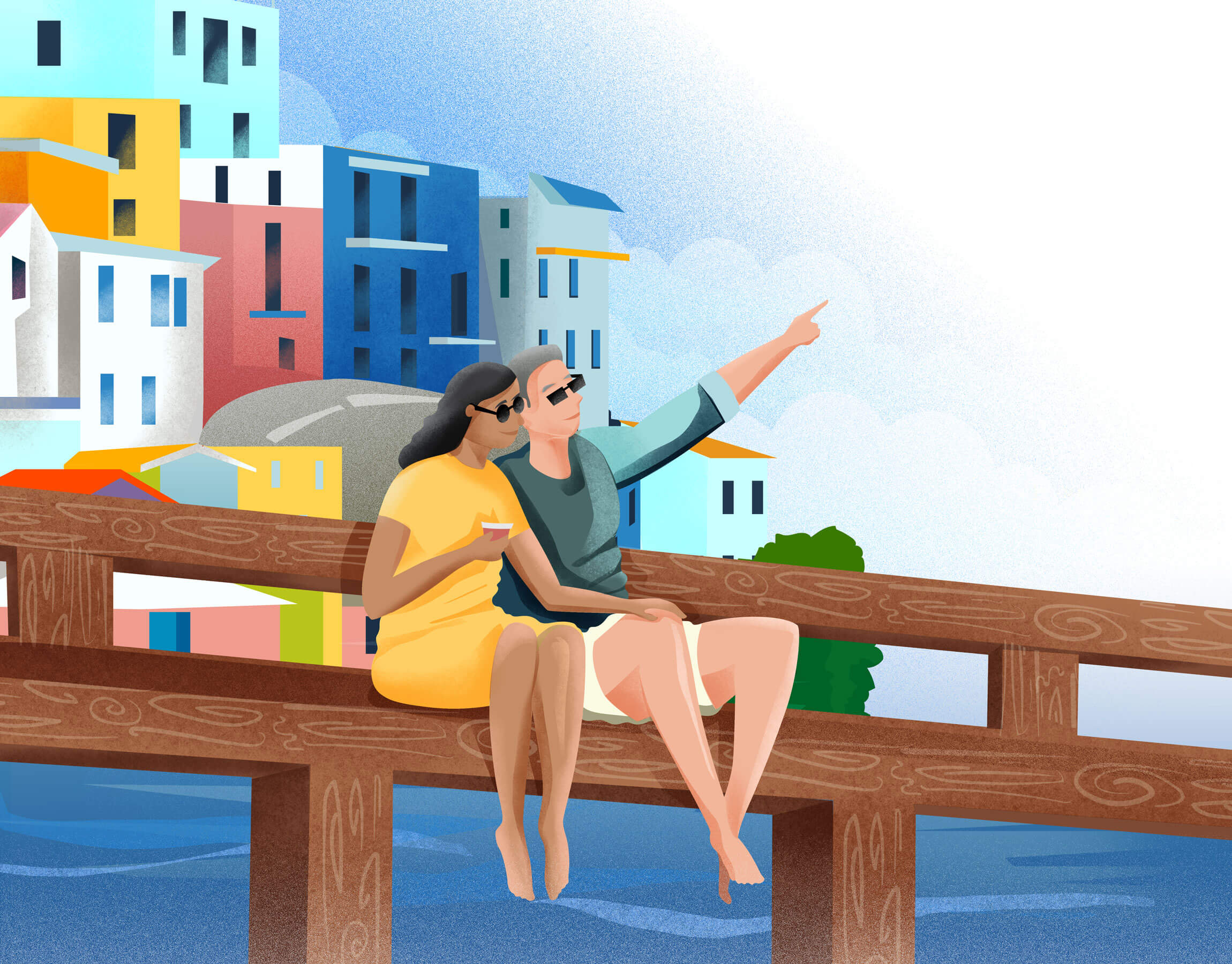 how we help - couple sitting on a pier enjoying the view